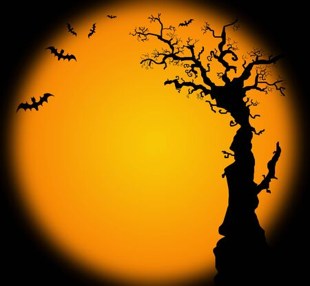 Hallowwen background illustration with bat and tree silhouette illustration