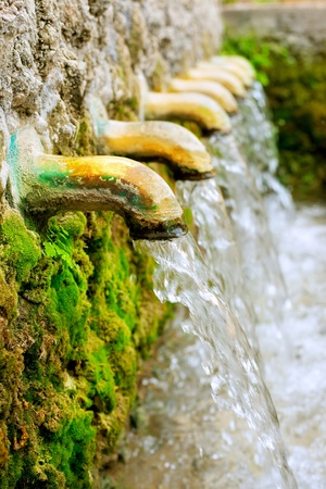 water source: brass fountain water source spring with green moss