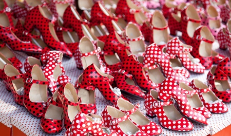 gypsies: gypsy red shoes with polka dot spots in shop market
