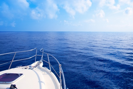 ship bow: Boat bow sailing in blue Mediterranean sea in summer vacation Stock Photo