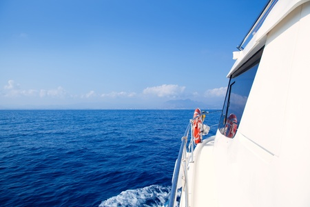 bow window: Boat bow sailing in blue Mediterranean sea in summer vacation Stock Photo