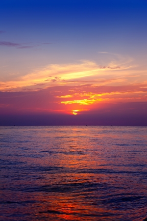 Mediterranean sea sunrise with water horizon