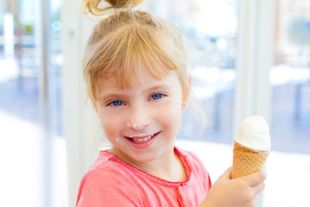 dirty blond: children girl happy with cone icecream smiling