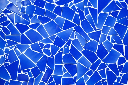 valencia: blue trencadis broken tiles mosaic from Mediterranean in Valencia Spain