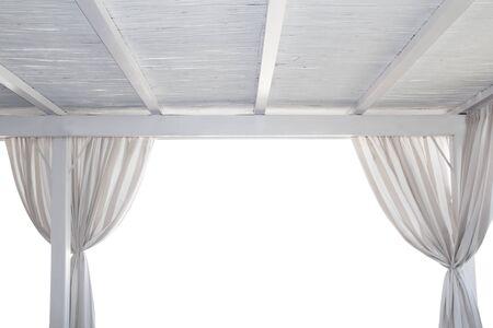 gazer: Beach gazebo isolated on white with curtain