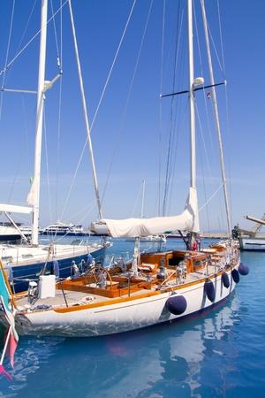 Luxury yachts in Formentera marina near ibiza photo