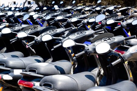 Bikes scooter pattern in renting store of Balearic islands Spain Stock Photo - 11045017