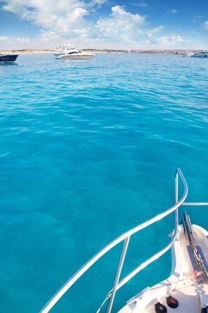boat bow in Illetes Formentera Ibiza island with turquoise Mediterranean Stock Photo - 11058000