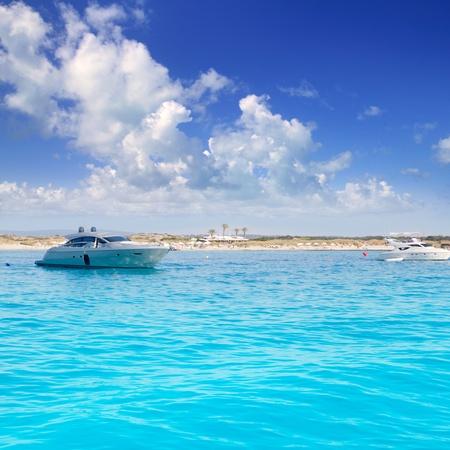 Anchored motorboats in Formentera Illetes beach near Ibiza Stock Photo - 11058218