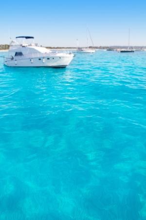 motorboats: Anchored motorboats in Formentera Illetes beach near Ibiza Stock Photo