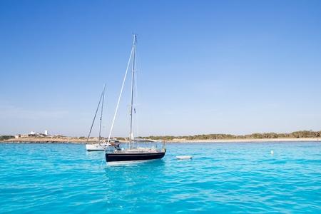 anchored sailboats in turquoise Formentera Illetes beach near Ibiza Stock Photo - 11057984
