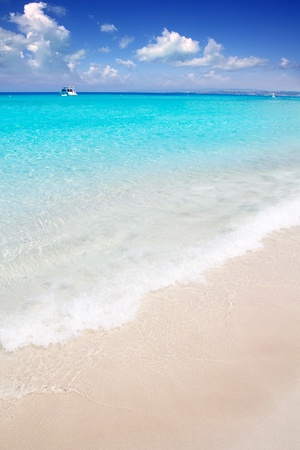 Illetes Formentera East tanga beach with tropical turquoise Mediterranean sea photo