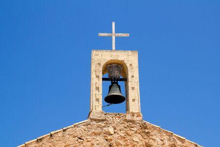 Sant Ferran church stone belfry detail in Formentera island of Spain