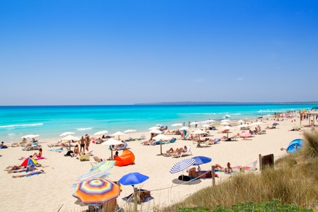 formentera: Formentera migjorn Els Arenals beach in summer vacation at Spain