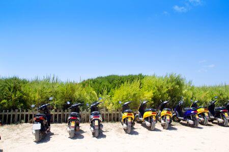 bike parking: Formentera scooter bikes parking near the beach in Spain