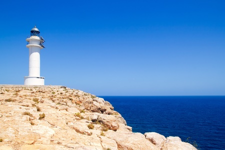 Barbaria Cape Lighthouse in formentera Balearic island in Mediterranean Stock Photo - 11058063
