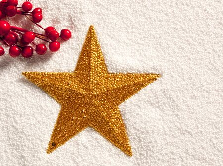 christmas golden star on snow with red berries on artificial background photo