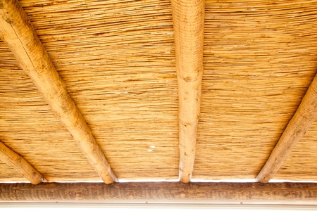 Cane sunroof with round wood beams in yellow golden color photo