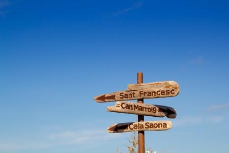 formentera: Formentera wood road signs Can Marroig Cala Saona Sant Francesc Stock Photo