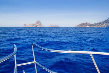 boat bow in Es Vedra of Ibiza island at Balearic Islands photo