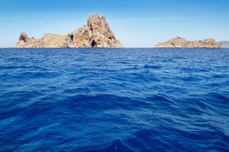 vedra: Ibiza Es Vedra an Vedranell islands in Mediterranean blue sea Stock Photo