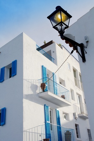 Ibiza town white facades of mediterranean village in Balearic photo