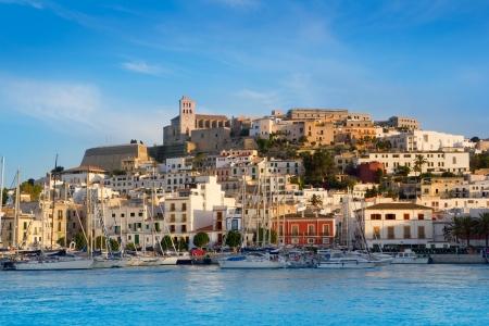ibiza: Ibiza Eivissa town with blue Mediterranean sea city view