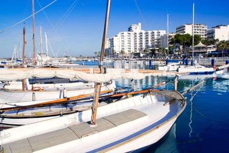 Ibiza San antonio Abad boats marina port in blue summer day at Spain photo