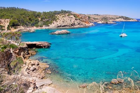 ibiza: Ibiza Punta de Xarraca turquoise beach paradise in Balearic Islands