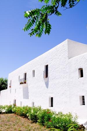 sant: Ibiza white church in Sant Carles Peralta San Carlos mediterranean architecture