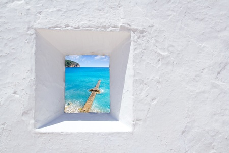 Mallorca mediterranean white wall window with Andratx view Stock Photo - 11191297