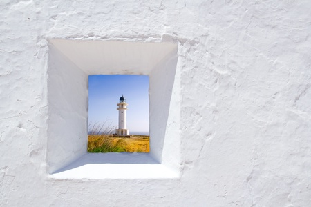 Formentera mediterranean white window with Barbaria lighthouse photo