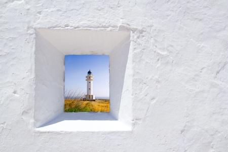formentera: Formentera mediterranean white window with Barbaria lighthouse