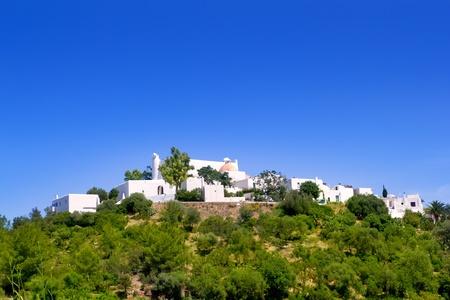 del: Ibiza Santa Eulalia del Rio hill with white houses Stock Photo