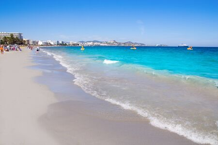 ibiza: Ibiza Platja En bossa beach with truquoise water a party landmark Stock Photo