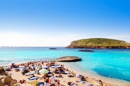 antonio: Ibiza cala Conta Conmte in San Antonio with isla del bosque Stock Photo