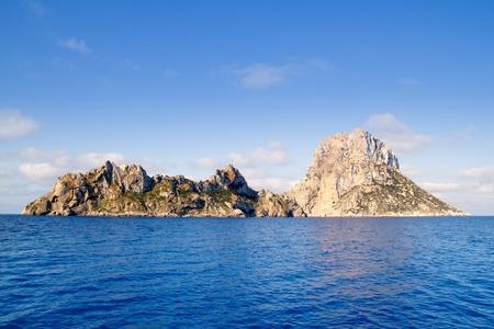 islet: Es Vedra islet and Vedranell islands in blue Mediterranean Spain