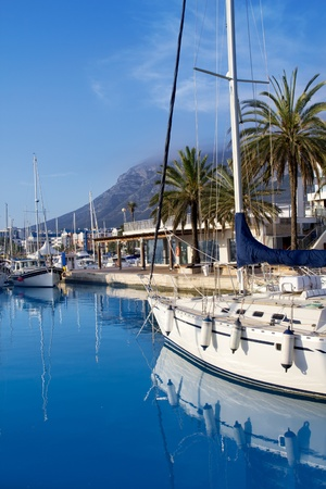 mongo: Denia marina port boats and Mongo mountain in Alicante Spain