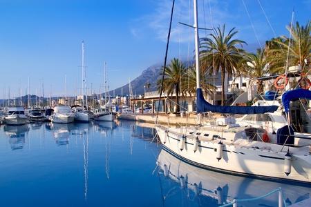 mongo: Denia marina port boats and Mongo mountain in Alicante Spain