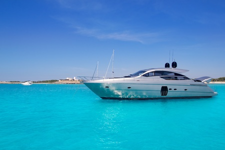 ibiza: Luxury yatch in turquoise beach of Formentera Illetes Stock Photo