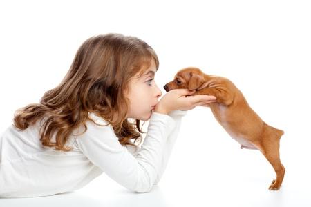 perros jugando: El perfil de chica morena con cachorro de perro mascota de pinscher mini-sobre fondo blanco