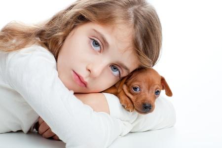 brunette kid girl with mini pinscher pet mascot dog on white background photo