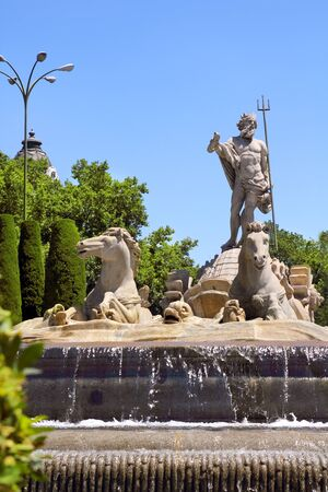 Madrid Neptuno fountain in Paseo de la Castellana Spain
