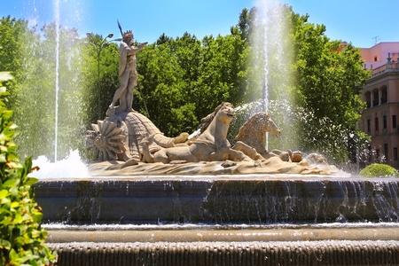 paseo: Madrid Neptuno fountain in Paseo de la Castellana Spain Editorial