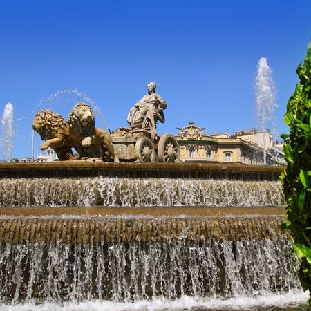 castellana: Cibeles statue Madrid fountain in Paseo de Castellana at Spain
