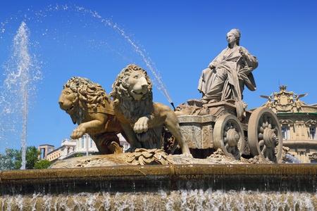 paseo: Cibeles statue Madrid fountain in Paseo de Castellana at Spain