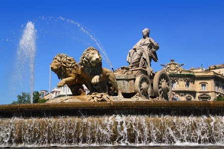 Cibeles statue Madrid fountain in Paseo de Castellana at Spain