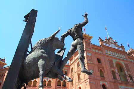 bull fight: Madrid bullring Las Ventas Plaza Monumental with toreador statue