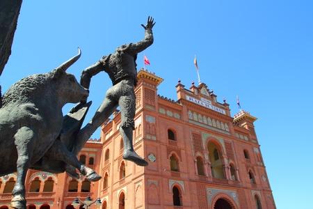 toreador: Madrid bullring Las Ventas Plaza Monumental with toreador statue