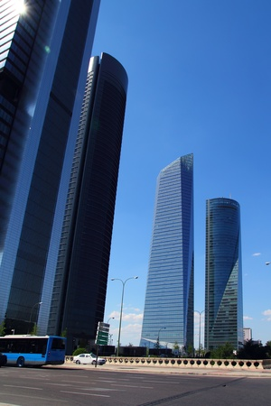 commercial district: Madrid skyscrapers buildings in modern city of Spain